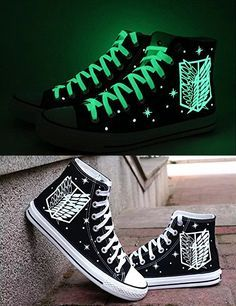 Be the coolest kid in the Survey Corps by owning a pair of shoes that give off a vibrant glow of green. The Wings of Freedom will light up the streets at night while the Titans are inactive and allow for a swift getaway street Glowing Survey Corps Shoes Mode Kpop, Silvester Outfit, Mode Kawaii, New Years Outfit, Levi X Eren, Things To Buy, Stuff To Buy, Anime Merchandise, Painted Shoes
