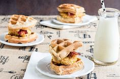 Oven Fried Chicken and Waffles recipe by skinnymom photo of finished waffles and milk 2