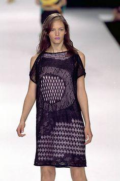 Missoni   Spring 2000 Ready-to-Wear   37 Black crochet cut out shoulder mini dress