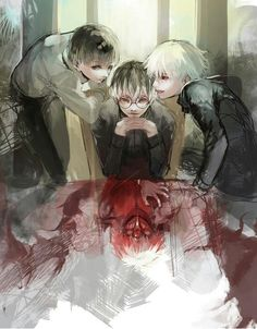 Tokyo Ghoul Kaneki, Shiro!Kaneki, Centipede and Haise credits to the artist!