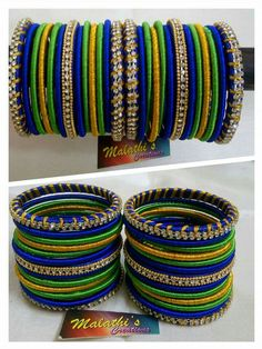 Pintreset - ❤ MehrN ❤ Silk Thread Bangles Design, Silk Bangles, Bridal Bangles, Thread Jewellery, Bangle Set, Bangle Bracelets, Chuda Bangles, Jewelry Show, Jewelry Design