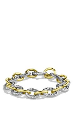 Free shipping and returns on David Yurman 'Chain' Oval Large Link Bracelet with Gold at Nordstrom.com. Sterling silver and 18-karat yellow gold. 12mm wide. Lobster clasp. By David Yurman; made in Italy.