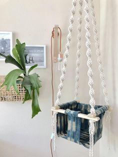 [ My Macrame swings are my top selling item and after tons of requests, I decided to launch a macame/wood/mudcloth baby swing! Homemade Hammock, Childrens Swings, Macrame Chairs, Wood Swing, Kids Swing, Blonde Wood, Baby Bassinet, Baby Swings, Baby Patterns