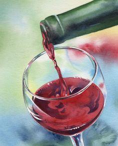 watercolor paintings of wine bottles | ... watercolor painting barbara fox fuchsia watercolor flower painting #watercolorarts
