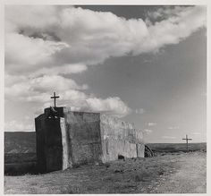 Georgia O'Keeffe painted her Black Crosses after seeing these in 1929 on her first visit to Taos, NM. Penitente Morada, Abiquiu, New Mexico, by Todd Webb 1981, Visit Santa Fe, rent a cozy historic adobe home in town, good winter rates, walking distance to the plaza, check it out Airbnb 2562597, Winter in New Mexico is beautiful for skiing, snow shoeing and hikes under the full moon.