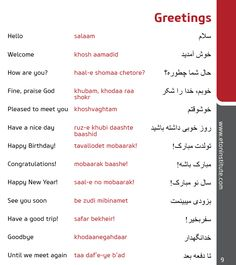 Learn how to greet in the Persian (Farsi) language. Tip: Use the transliteration (in red) to perfect your pronunciation. Arabic Phrases, Urdu Words, Arabic Words, Speak Arabic, Persian Language, Arabic Language, English Vocabulary Words, Learn English Words, English Language Learning