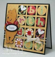 Winnie the Pooh card #Cricut- not so into pooh but like the circles ideas!