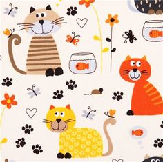 cream cat goldfish fabric by Timeless Treasures USA 1