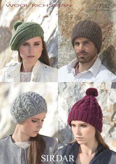 Hats knitted in Sirdar Wool Rich Aran