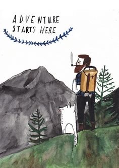 Adventure Starts Here by Dick Vincent Illustration