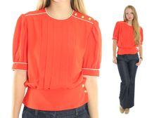 $29, Vintage 80s Secretary Blouse Short Sleeve Shirt Orange Top Work Shirt Nipped Waist Blouse Nautical Blosue 1980s Large L by ScarletFury on Etsy