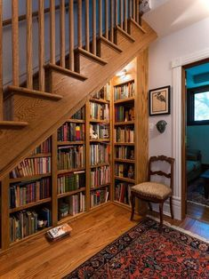 7 Living Room Color Schemes that will Make Your Space Look Professionally Designed - The Trending House Home Library Design, House Design, Library Ideas, Staircase Bookshelf, Bookshelves, Staircase Storage, Bookcase Door, Bookshelf Design, Home Libraries