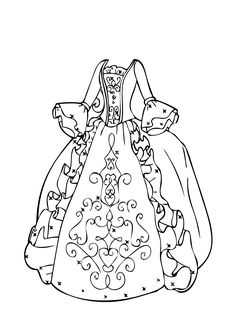 Ball gown coloring page for girls, printable free