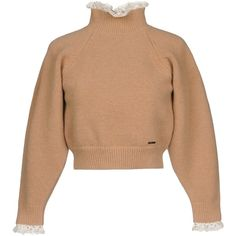 Dsquared2 Turtleneck ($480) ❤ liked on Polyvore featuring tops, sweaters, sand, extra long sleeve sweater, beige sweater, lace top, beige turtleneck sweater and long sleeve sweater
