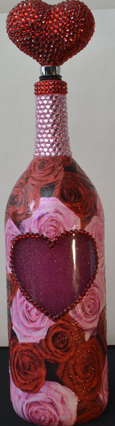 Valentine's Day Decoupage Wine Bottle  This bottle has glitter bubble bath in it that you can see.