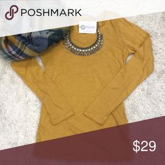 🆕 Mustard Basic Top Perfect for layering! Almost a Tunic length. Slim fit. 60% Cotton 40% Polyester. Scarf and necklace sold separately. No trades. Also available in purple, coral, gray, burgundy, mocha, and mint. Kyoot Klothing Tops
