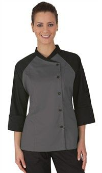 Women's Contrast Raglan Sleeve Chef Coat - Snap Front Closure - Poly/Cotton Fine Line Twill Style # 39559 Chef Dress, Chef Shirts, Restaurant Uniforms, Coats For Women, Clothes For Women, Work Uniforms, Work Attire, Chambray, Chef Jackets
