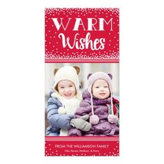 Warm Wishes Holiday Photo Card / Red