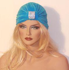 Headband Turban Rhinestone Pin Turquoise Velour by itsexclusive
