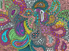 Colored Zentangle Paintings | KatAhrens Zentangle Colored. by drlaf