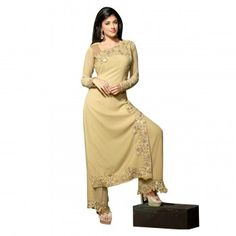 Georgette Border Work Beige Semi Stitched Palazzo Style Suit - B70967