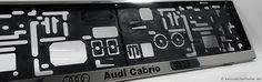 Edelstahl Nummernschildhalterung mit nach Kundenangaben bedruckter Werbefläche - Audi Cabrio. Realisierung GurilConcept - Werbetechnik www.kennzeichenhalter.de