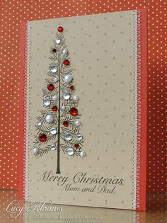 Lucy's Cards: Some digi cards... Christmas tree with bling - Hero Arts digi stamps.