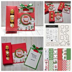 Peanuts and Peppers Papercrafting: Tuesday Tutorial - Signs of Santa Card and Candy Box (Free Tutorial! Christmas Gift Box, Stampin Up Christmas, Christmas Candy, Christmas Crafts, Christmas Gift Card Holders, Christmas Items, Handmade Christmas, Candy Cards, Candy Gifts
