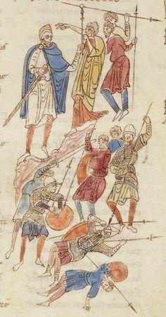 Illustration from the Roda Bible, c.1050-1100AD Biblia Sancti Petri Rodensis. Ms Latin 6 (1) folio 099v Debora sending Barak into combat/ ...