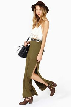 Way Side Maxi Skirt OLIVE