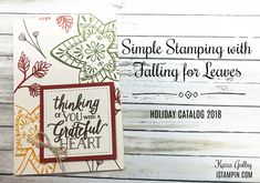 Simple Stamping with Falling for Leaves Glue Dots, Grateful Heart, Card Envelopes, Paper Pumpkin, Note Cards, Thinking Of You, Stampin Up, Paper Crafts, Simple