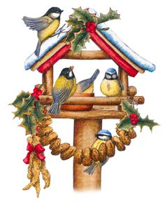CHRISTMAS BIRDHOUSE AND BIRDS