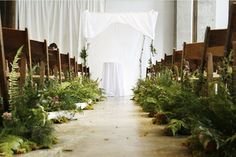 Decor: 15 Unique Ways To Add Style To Your Aisle For a bohemian wedding, line the aisle with lush green plants like moss and ferns instead of flowers.For a bohemian wedding, line the aisle with lush green plants like moss and ferns instead of flowers. Wedding Aisles, Fern Wedding, Woodsy Wedding, Botanical Wedding, Wedding Ceremony Decorations, Floral Wedding, Wedding Flowers, Aisle Decorations, Wedding Ceremonies