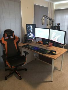 First post to this Sub tell me what you think! Laptop Gaming Setup, Gaming Computer Desk, Gamer Setup, Gaming Room Setup, Pc Setup, Computer Rooms, Room Desks, Home Office Setup, Home Office Space