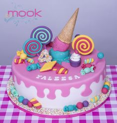 18 ideas birthday cake fondant simple cupcake for 2019 Candy Theme Cake, Candy Birthday Cakes, Candy Cakes, Birthday Cake Girls, 14th Birthday Cakes, Fondant Cakes, Cupcake Cakes, Ice Cream Cone Cake, Partys
