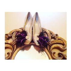Shoe Clips Black & Purple Feathers by Sofisticata. Rhinestone Crystals, Bride Bridal Bridesmaid Gift, Couture Lush Noir Ebony Edgy Statement