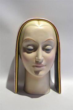 Art Deco Italian Porcelain Bust Circa 1920s, Artist Signed