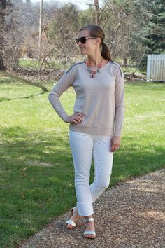 my everyday style: white + taupe!