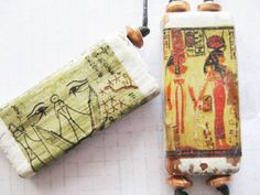 Ancient egyptian images on Vintage Bamboo Domino Necklace