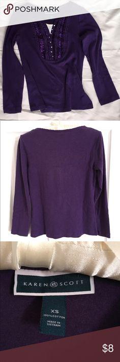 Karen Scott Top Purple Karen Scott Top size XS. Karen Scott Tops Tees - Long Sleeve