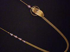 Sautoir chaine, plume et anneau bronze - perles parme