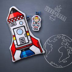 Raketen-Kissen weich gefüllt mit Tasche inkl. von JungsundSoehne
