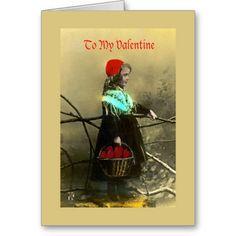 Vintage Valentine Basket of Hearts Greeting Card