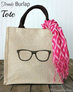 Burlap Tote by The Casual Craftlete