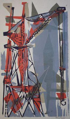 Joyce Pallot - Untitled (Cranes Orange) Built Environment, Crane, Printmaking, Photo Art, Industrial, Painting Abstract, City, Building, Outdoor Decor