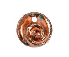 Mykonos Raku Pendant  25mm Nautilus Spiral  Sea by createyourbliss, $4.00
