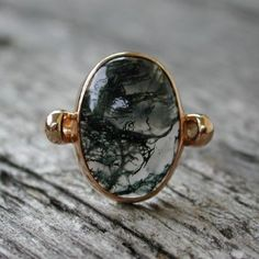 Mystical moss agate ring 14k rose pink gold review at Kaboodle