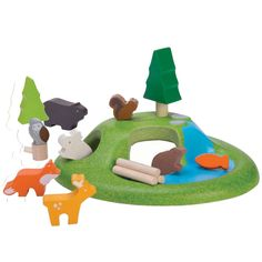Plan Toys Animal Set  This play set is made from kiln-dried, natural rubberwood, partially painted with eco paints, and eco Planwood which is made from recycled rubberwood sawdust.