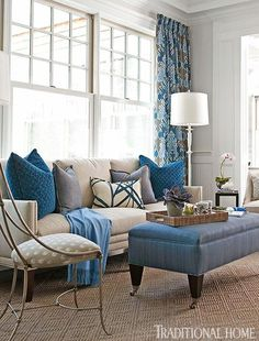 living room designs, living room decorating ideas - Dazzling Blue living room with a great floor lamp!