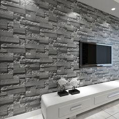 Stacked Brick 3D Stone Wallpaper Modern Wallcovering PVC Roll Wallpaper Brick Wall Background Wallpaper Grey…